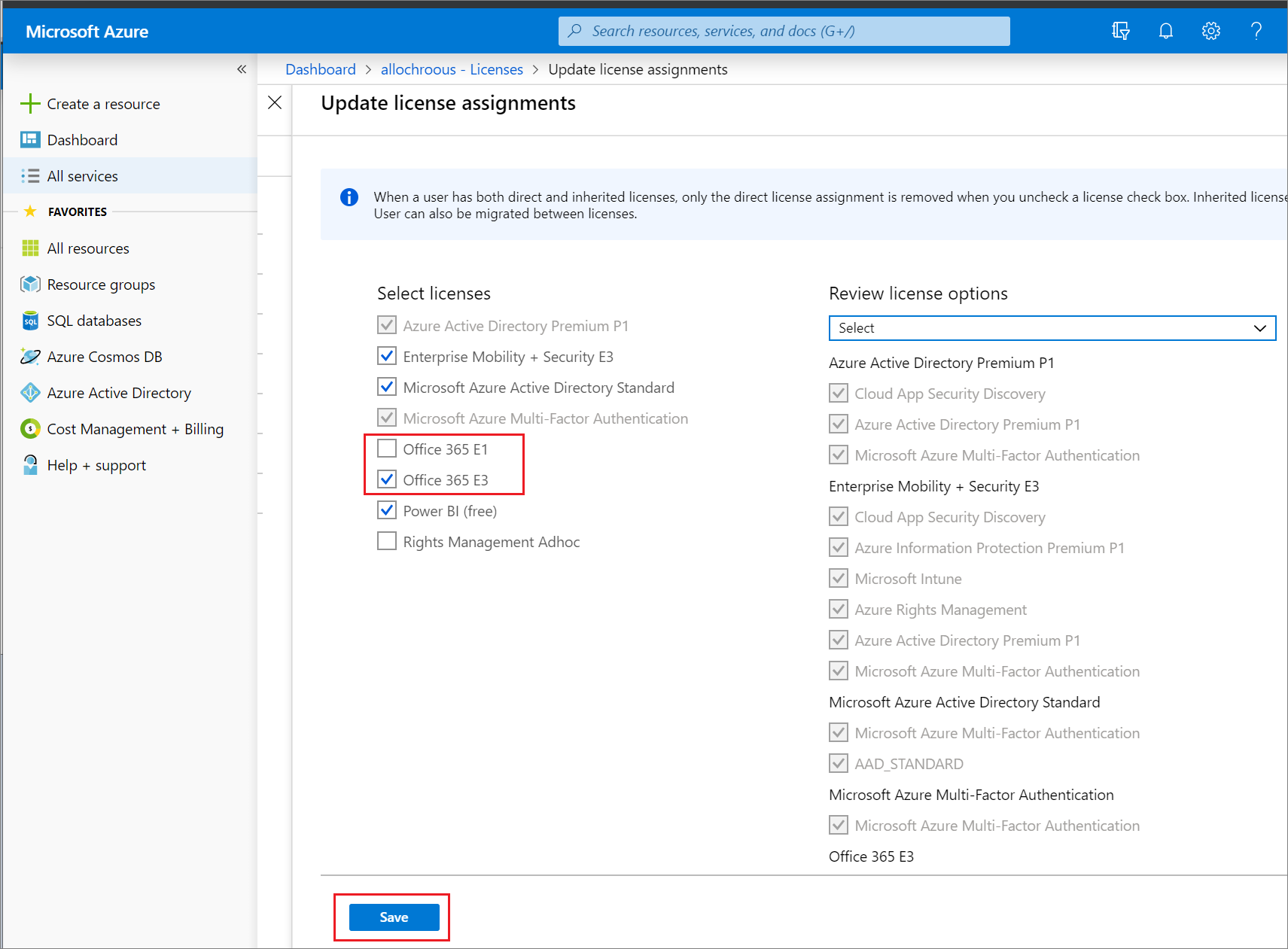 license assignments page for a user showing Office 365 E1 cleared and Office 365 E3 selected