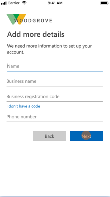 Example showing user sign-up attributes
