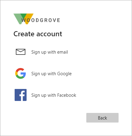 Example showing selection of Facebook for sign-in