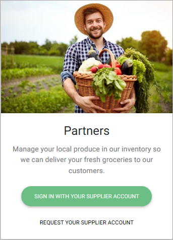 Example of self-service sign-up starting page