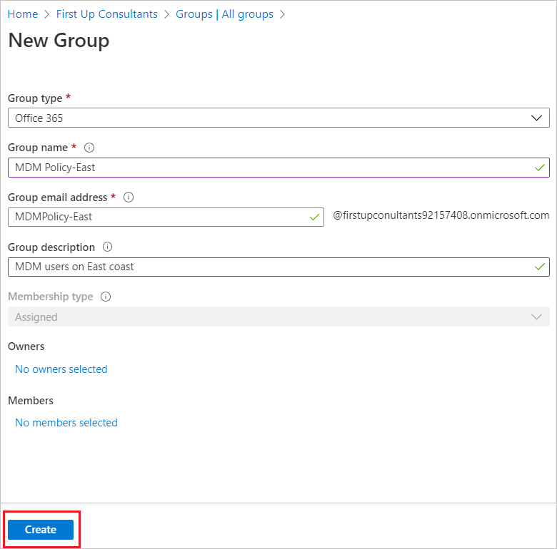 Create a basic group and add members - Azure Active