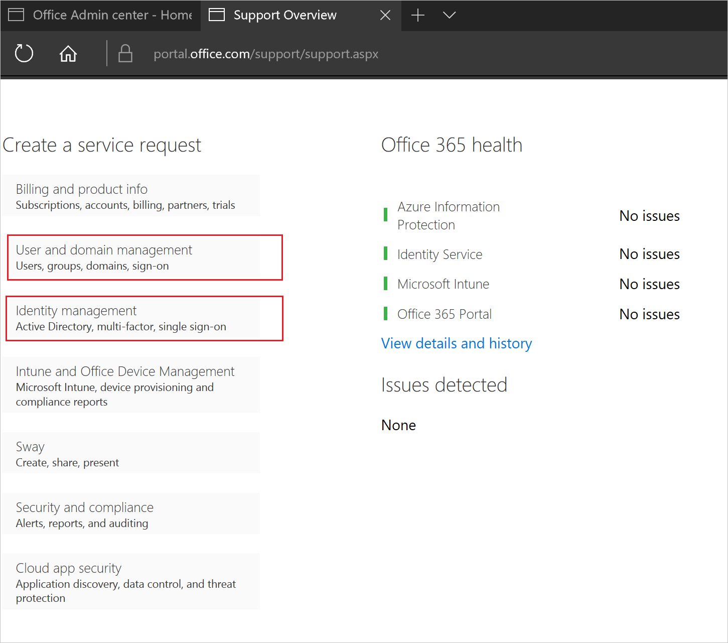 Get support for Azure AD | Microsoft Docs