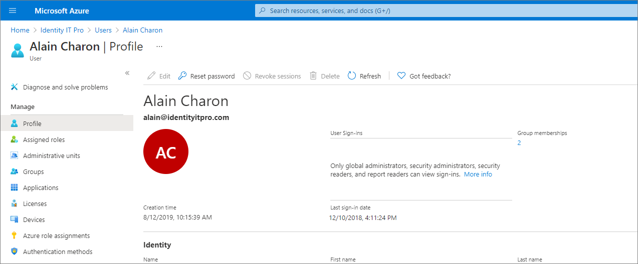 Add or update a user's profile information - Azure Active