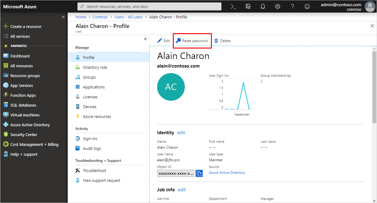 Reset a user's password - Azure Active Directory | Microsoft Docs