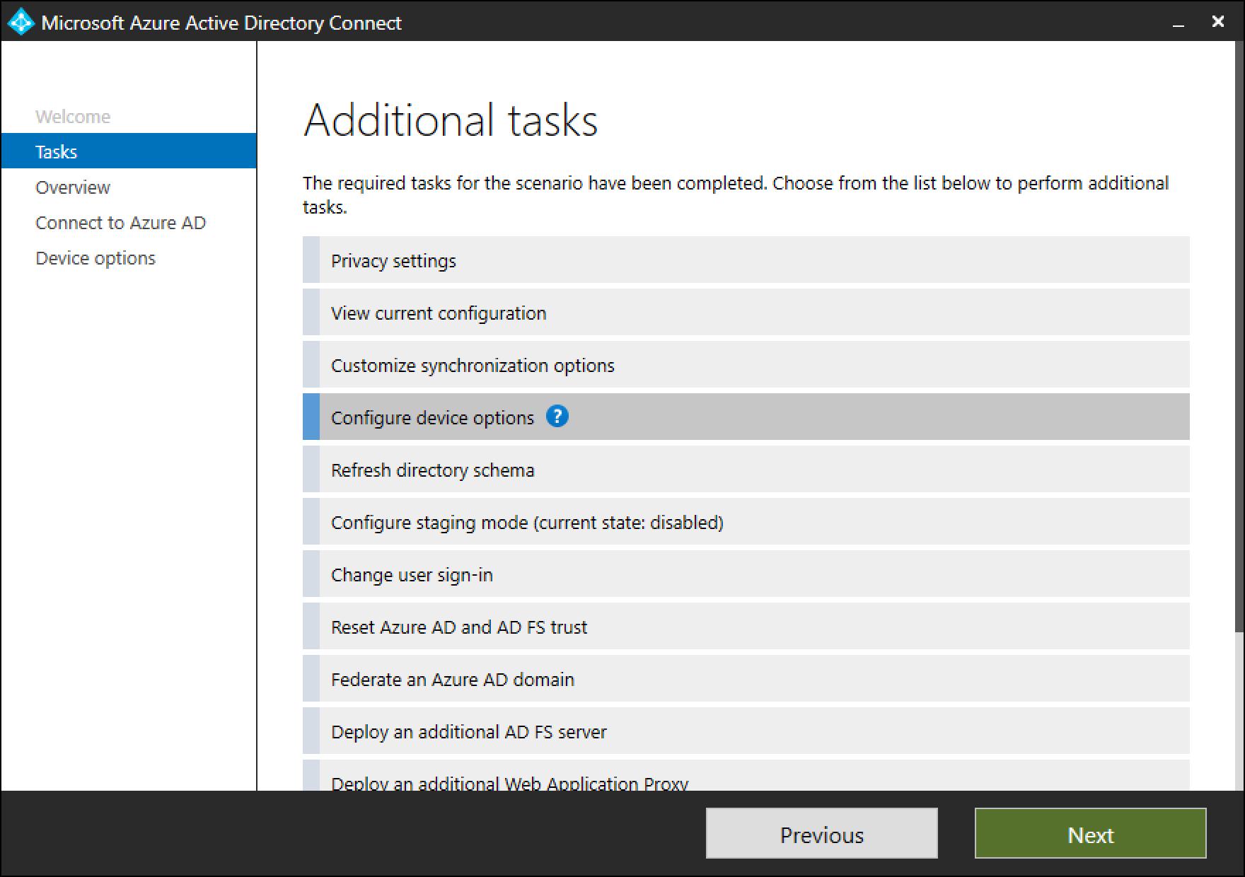 Azure AD Connect: Device options | Microsoft Docs