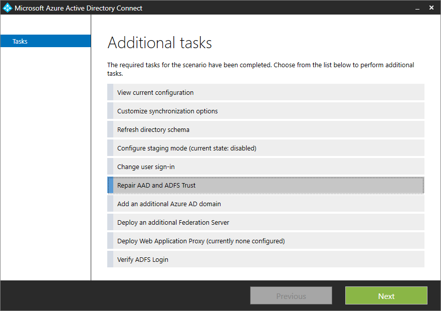 Azure AD Connect - AD FS management and customization