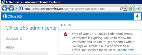 Certificate renewal for Office 365 and Azure AD users | Microsoft Docs