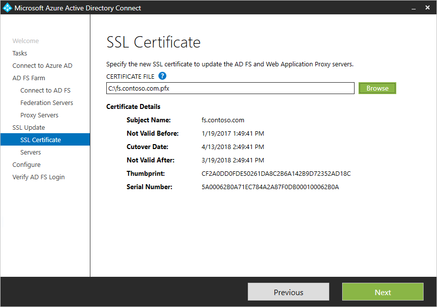 Azure AD Connect - Update the SSL certificate for an AD FS farm ...