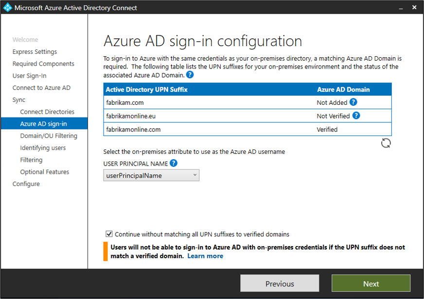 """Screenshot showing unverified domains on the """"Azure A D sign-in configuration"""" page."""