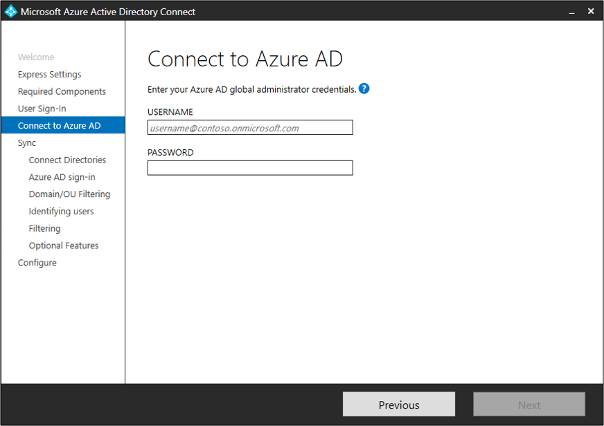 """Screenshot showing the """"Connect to Azure AD"""" page."""