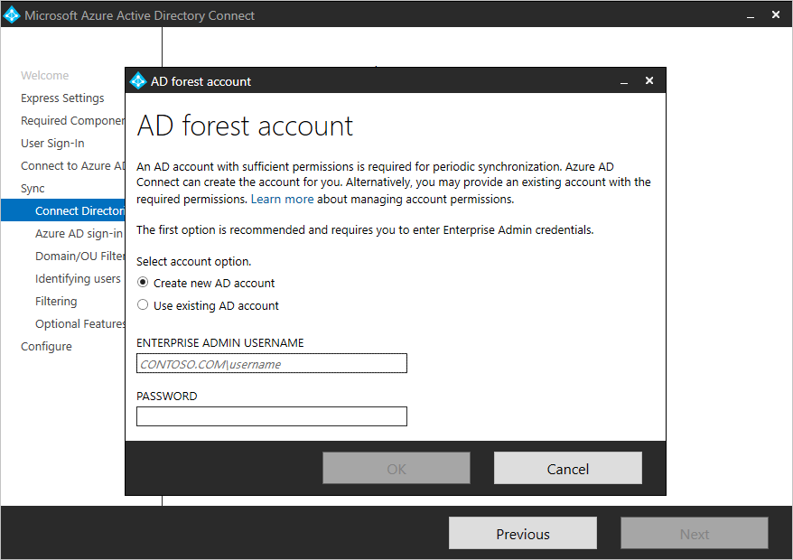 """Screenshot showing the """"Connect Directory"""" page and the A D forest account window, where you can choose to create a new account or use an existing account."""