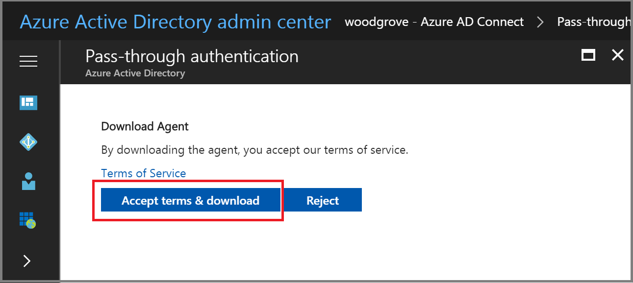 Azure Active Directory admin center: Download Agent pane