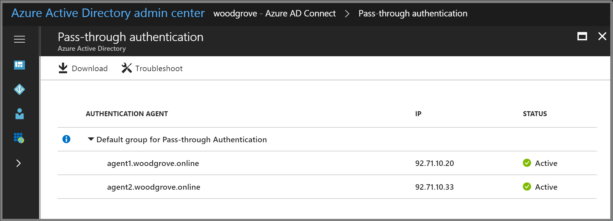 Azure Active Directory admin center: Pass-through Authentication pane