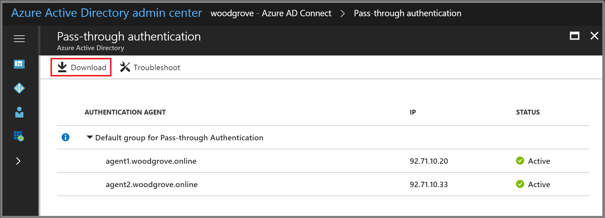 Azure Active Directory admin center: Download Authentication Agent button