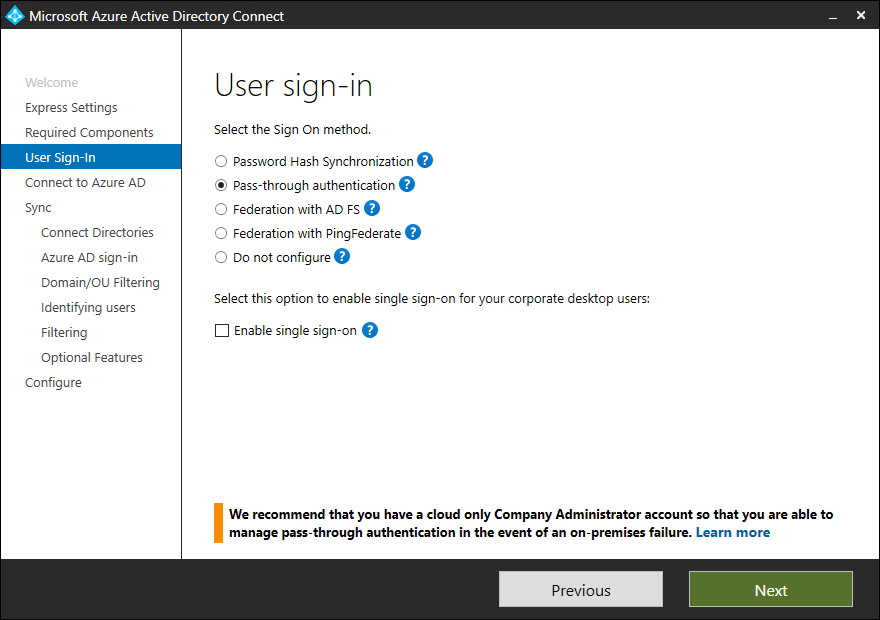 Azure AD Connect: User sign-in