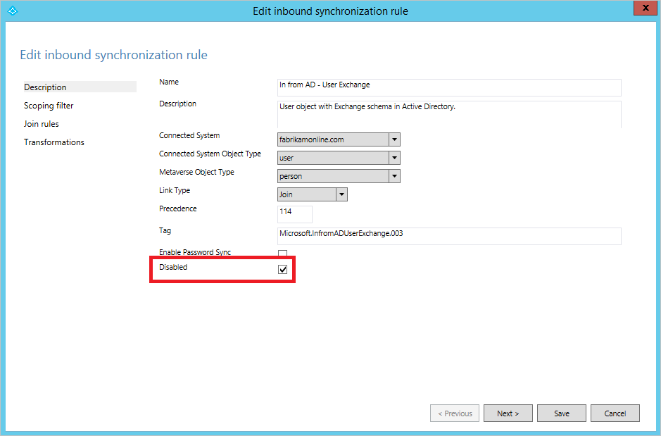 Azure AD Connect sync: Changing the default configuration