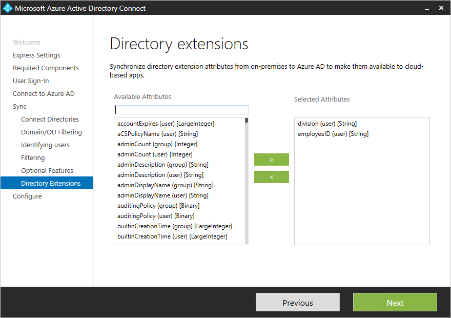 Azure AD Connect sync: Directory extensions | Microsoft Docs