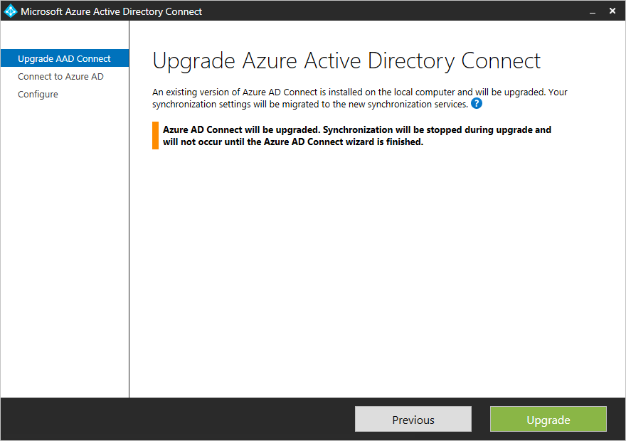 Azure AD Connect: Upgrade from a previous version | Microsoft Docs