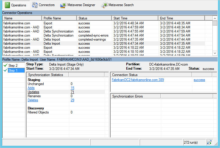 Screenshot of Synchronization Service Manager, showing Operations tab selected