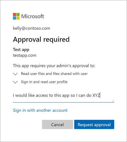 Screenshot shows an Approval required dialog box where you can Request approval.