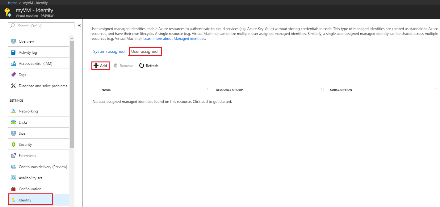 How to configure managed Identities for Azure resources on