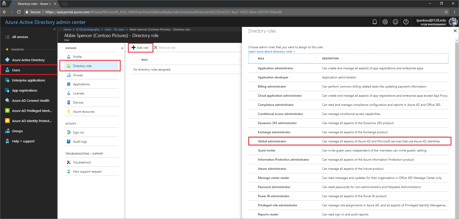 How to add a user in azure - Opening Azure Ad Admin Center