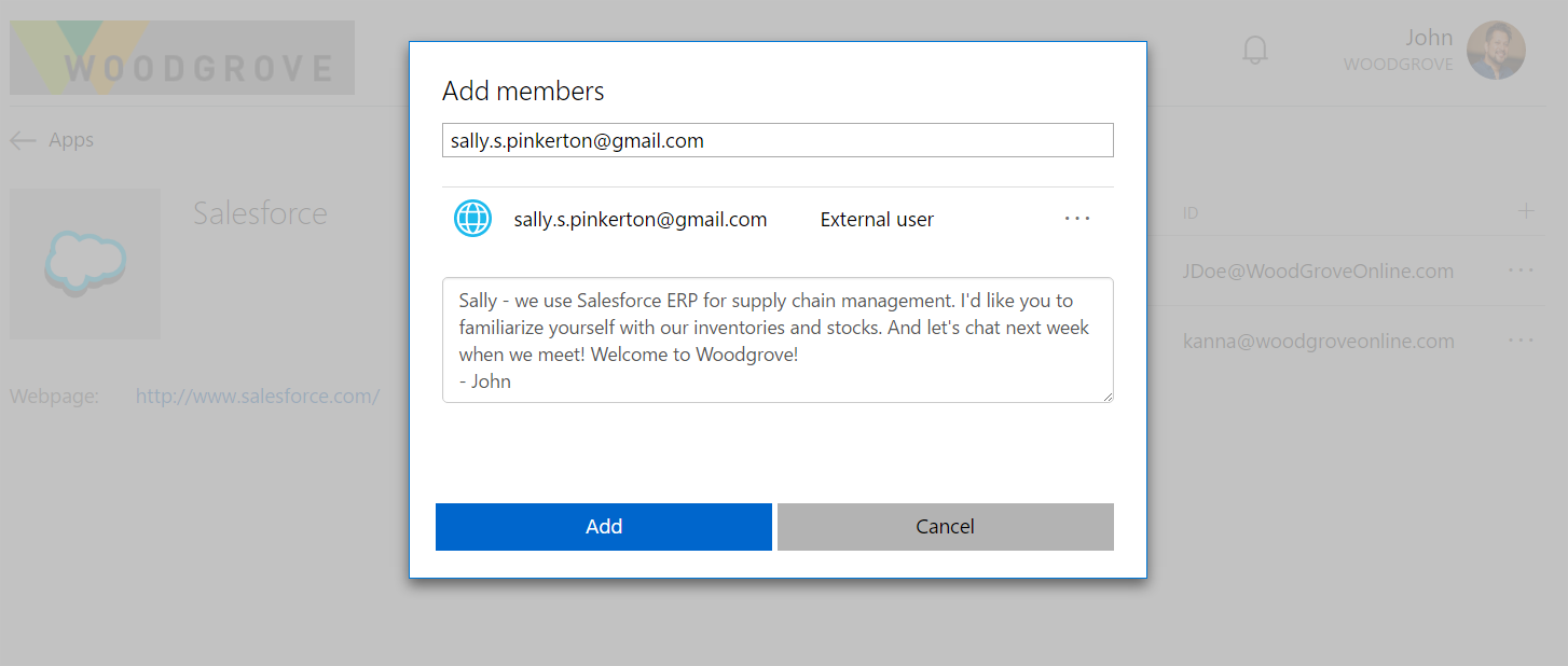 How to add a user in azure - Add Member