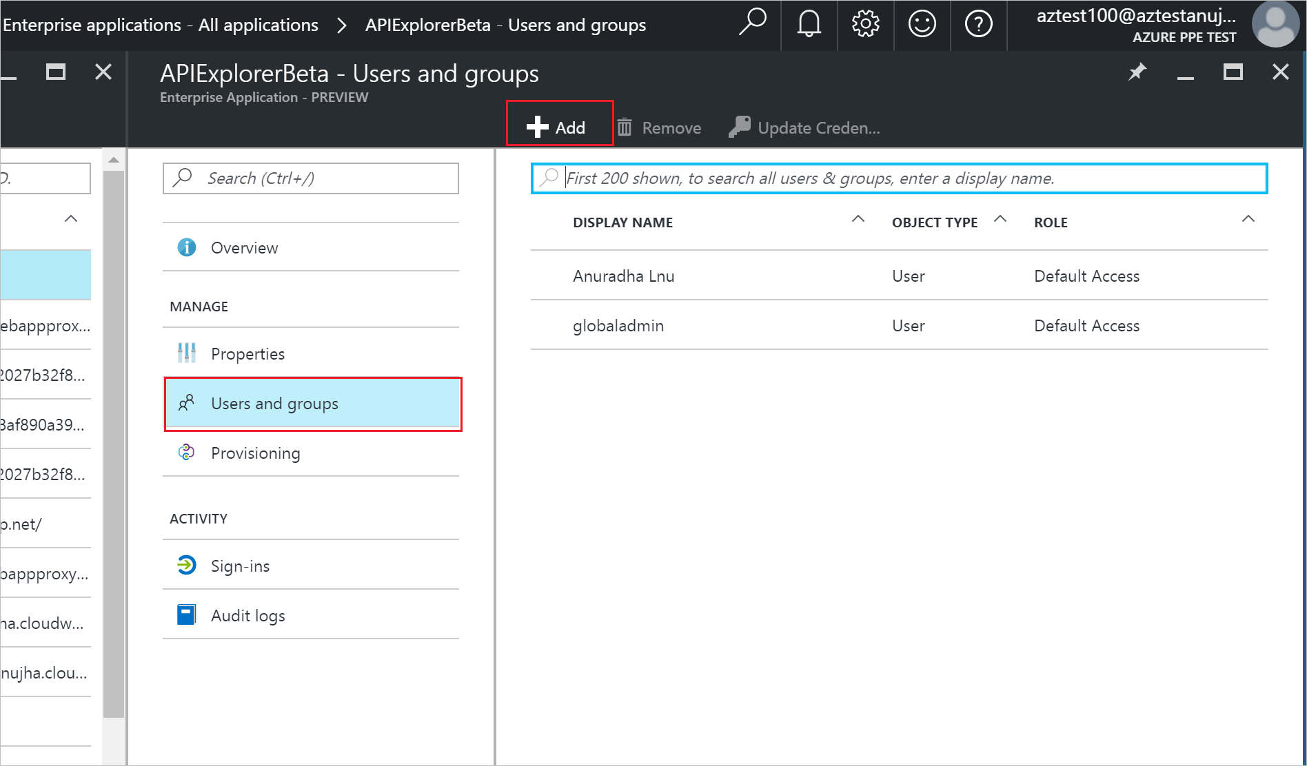 How to add a user in azure - Selecting The All Applications Command