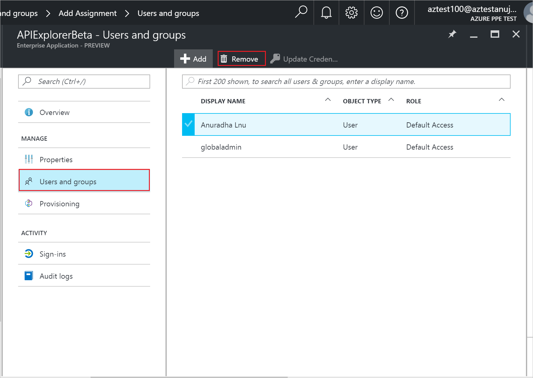 How to add a user in azure - Selecting Users Or Groups