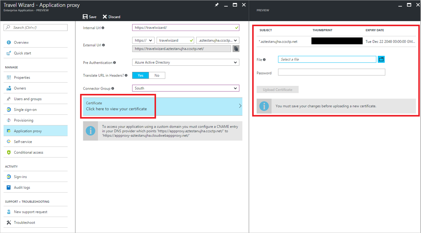 Whats new in enterprise application management in azure active uploading a certificate to be used with the application proxy 1betcityfo Choice Image