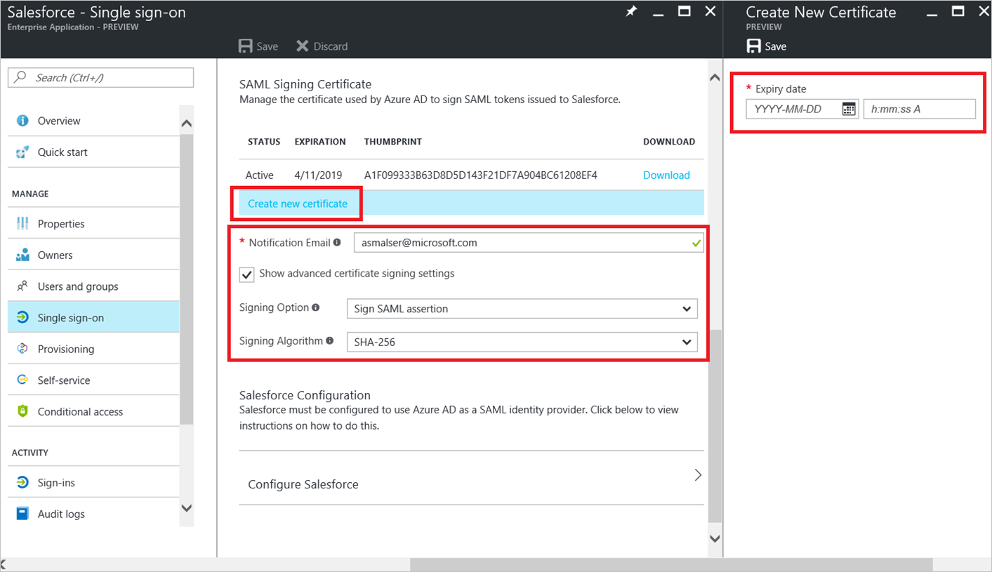 Whats new in enterprise application management in azure active creating a new certificate customizing expiry notification email and certificate signing options 1betcityfo Image collections