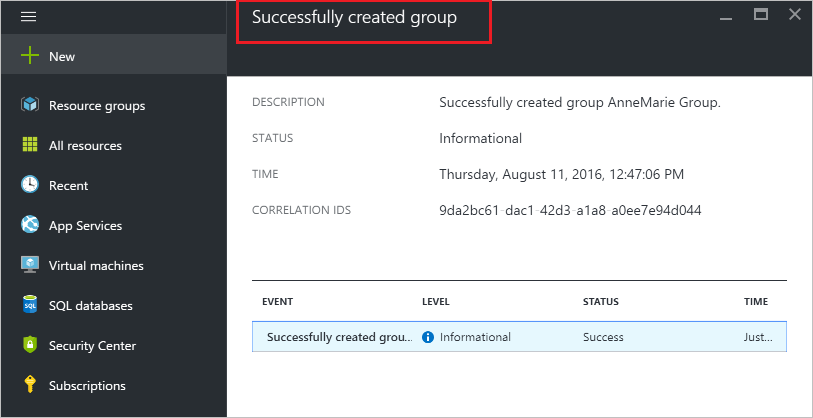 Create group confirmation