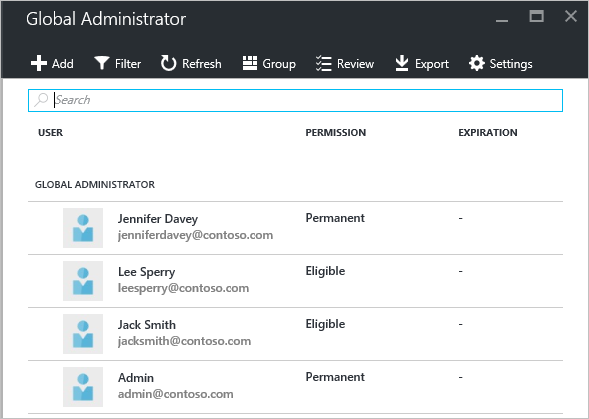 PIM add/remove administrators - screenshot