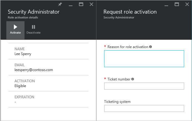PIM administrator request role activation - screenshot