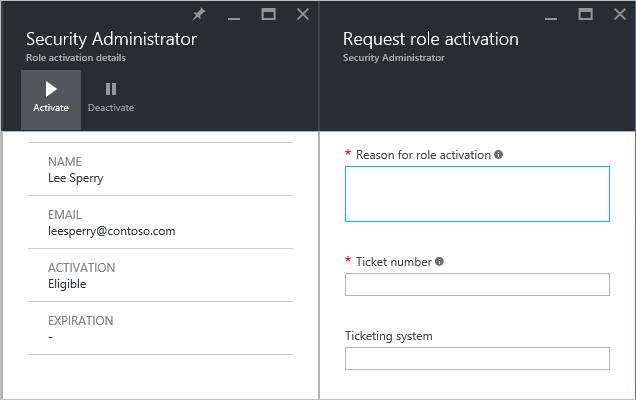PIM administrator request role activation - screenshot