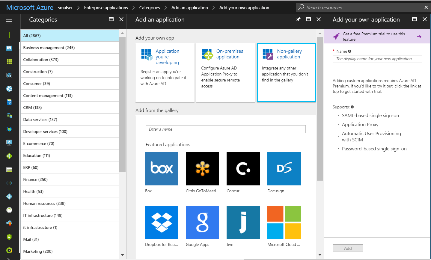How to add a user in azure - Figure 2 Azure Ad Application Gallery