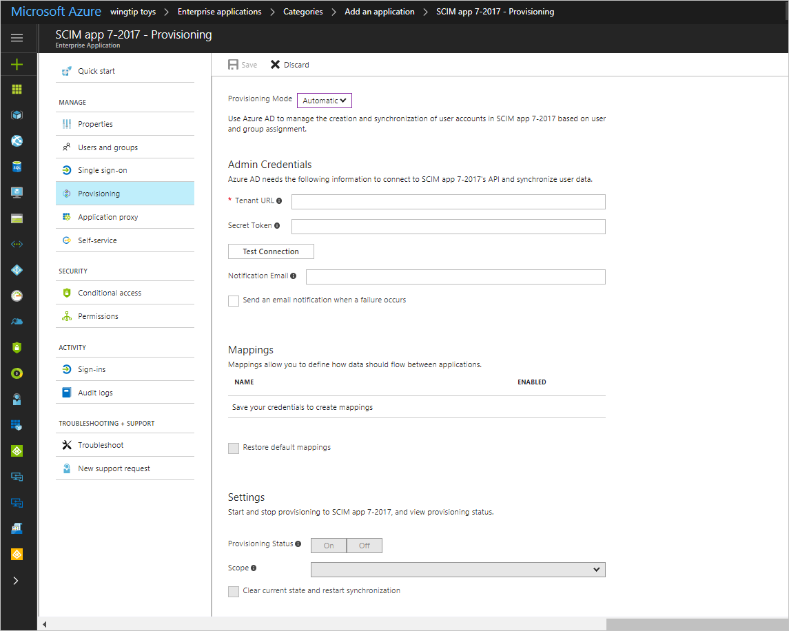 Figure 3: Configuring Provisioning In The Azure Portal