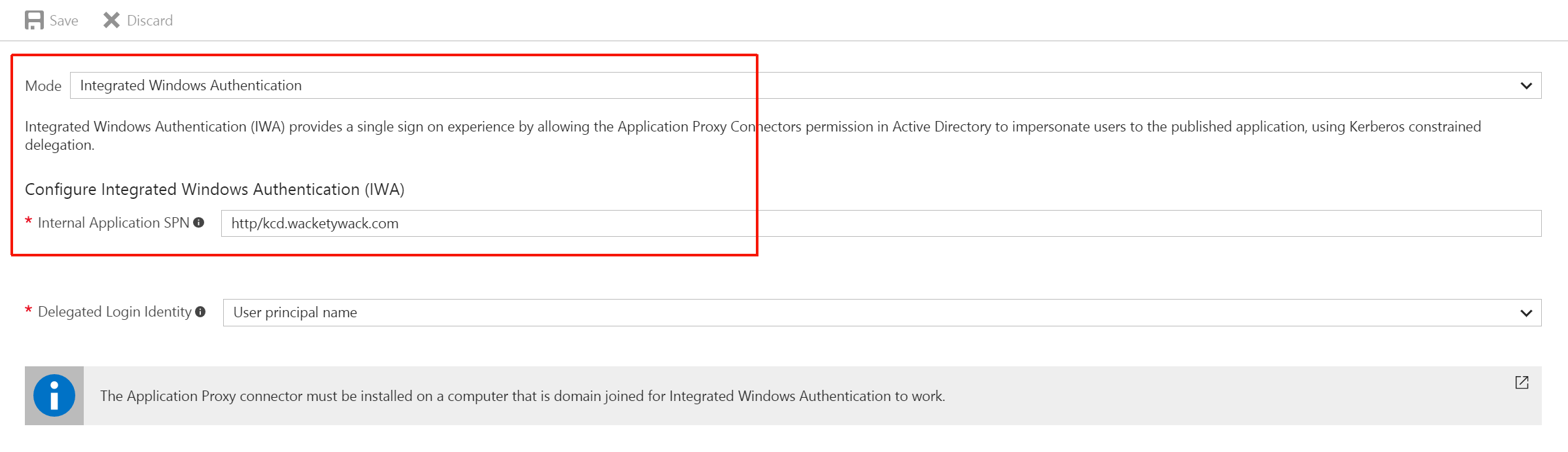 SPN configuration in the Azure portal
