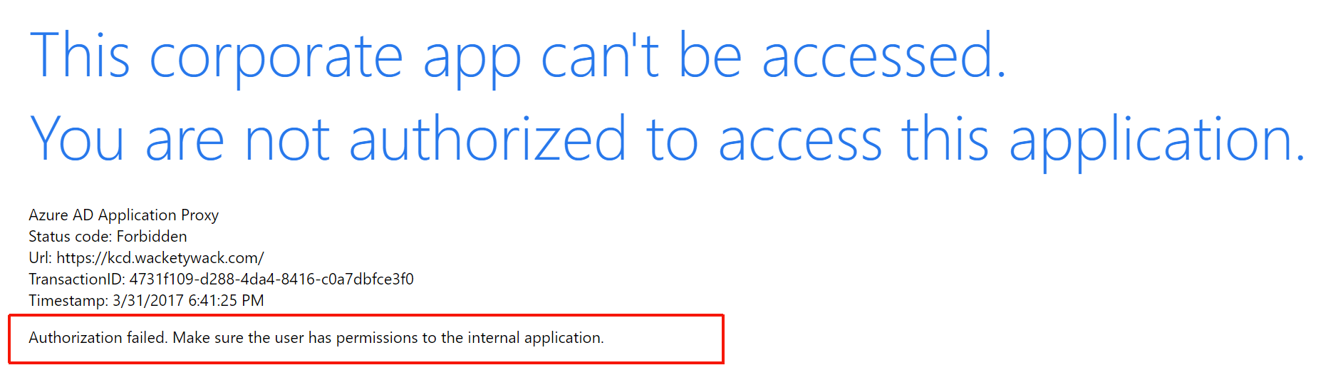 Example: Authorization failed because of missing permissions