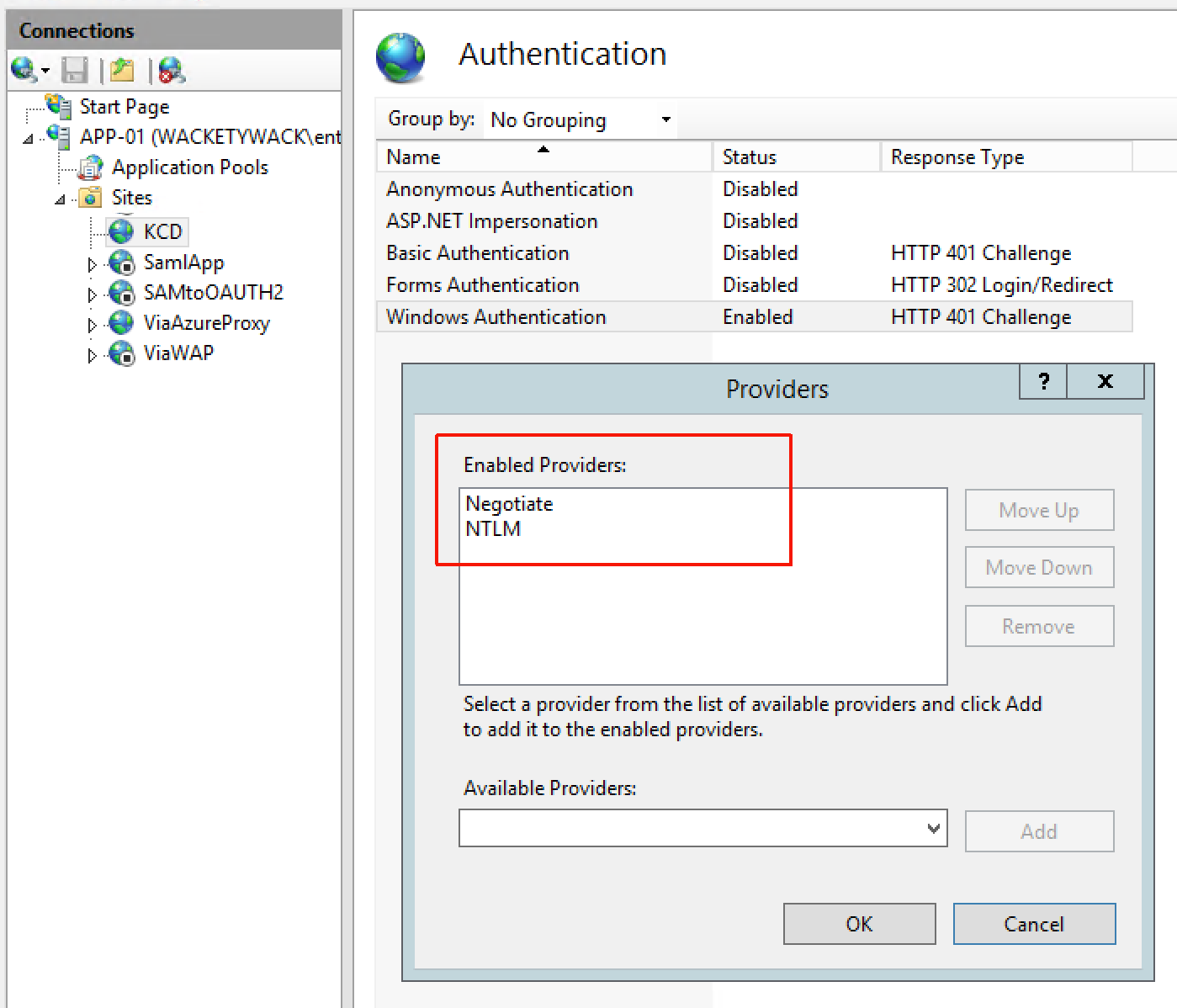 Windows authentication providers