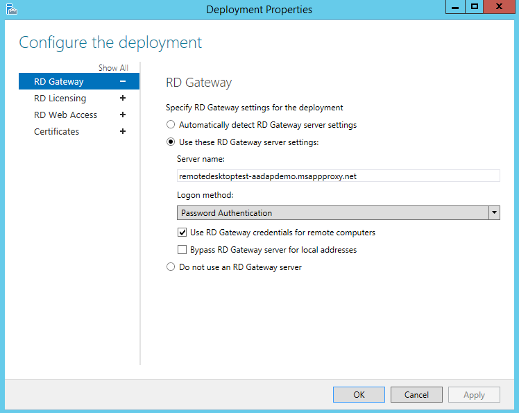 Publish remote desktop with azure ad app proxy microsoft docs deployment properties screen on rds ccuart Images