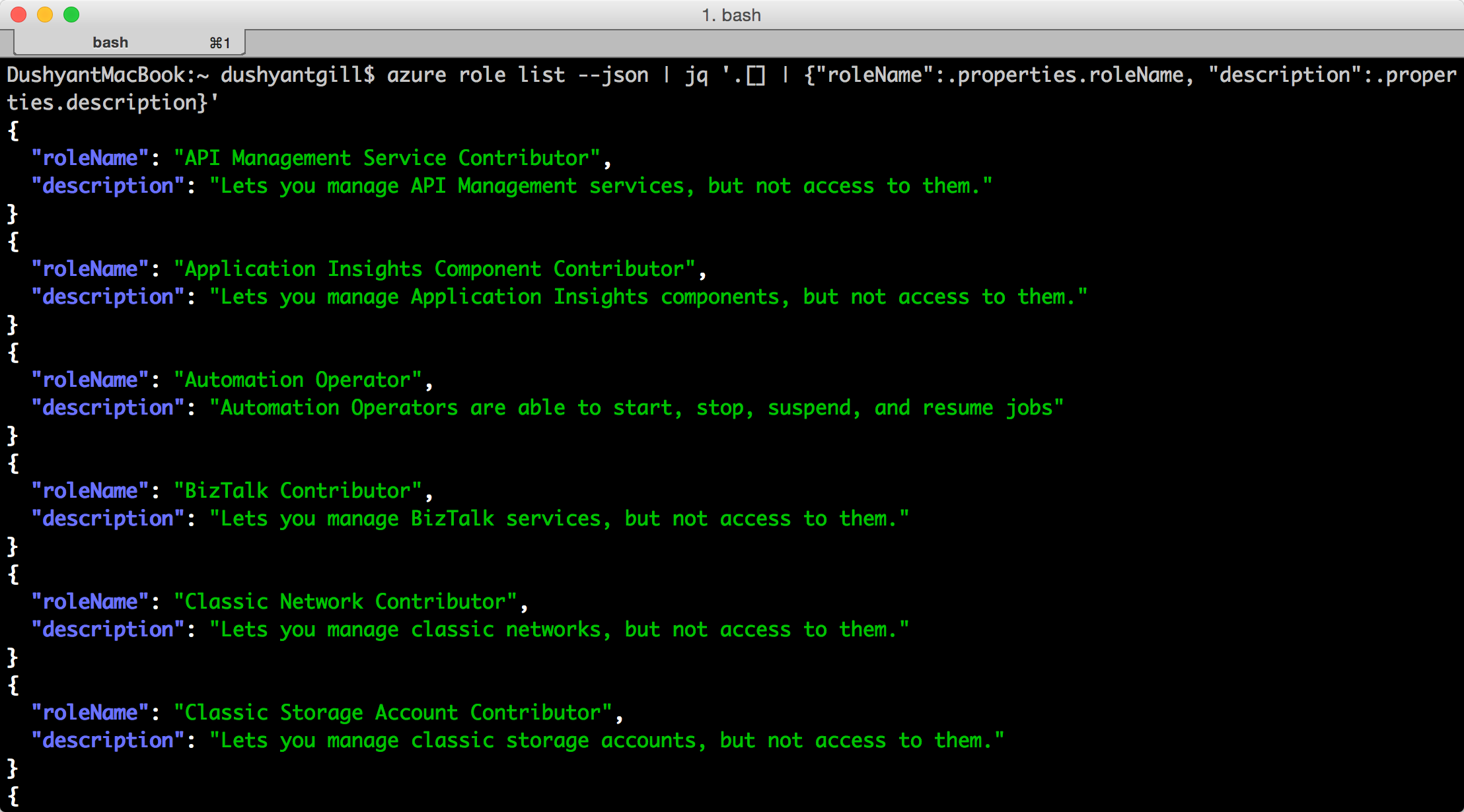 How To Use The Network Service Account To Access - Rbac azure command line azure role list screenshot