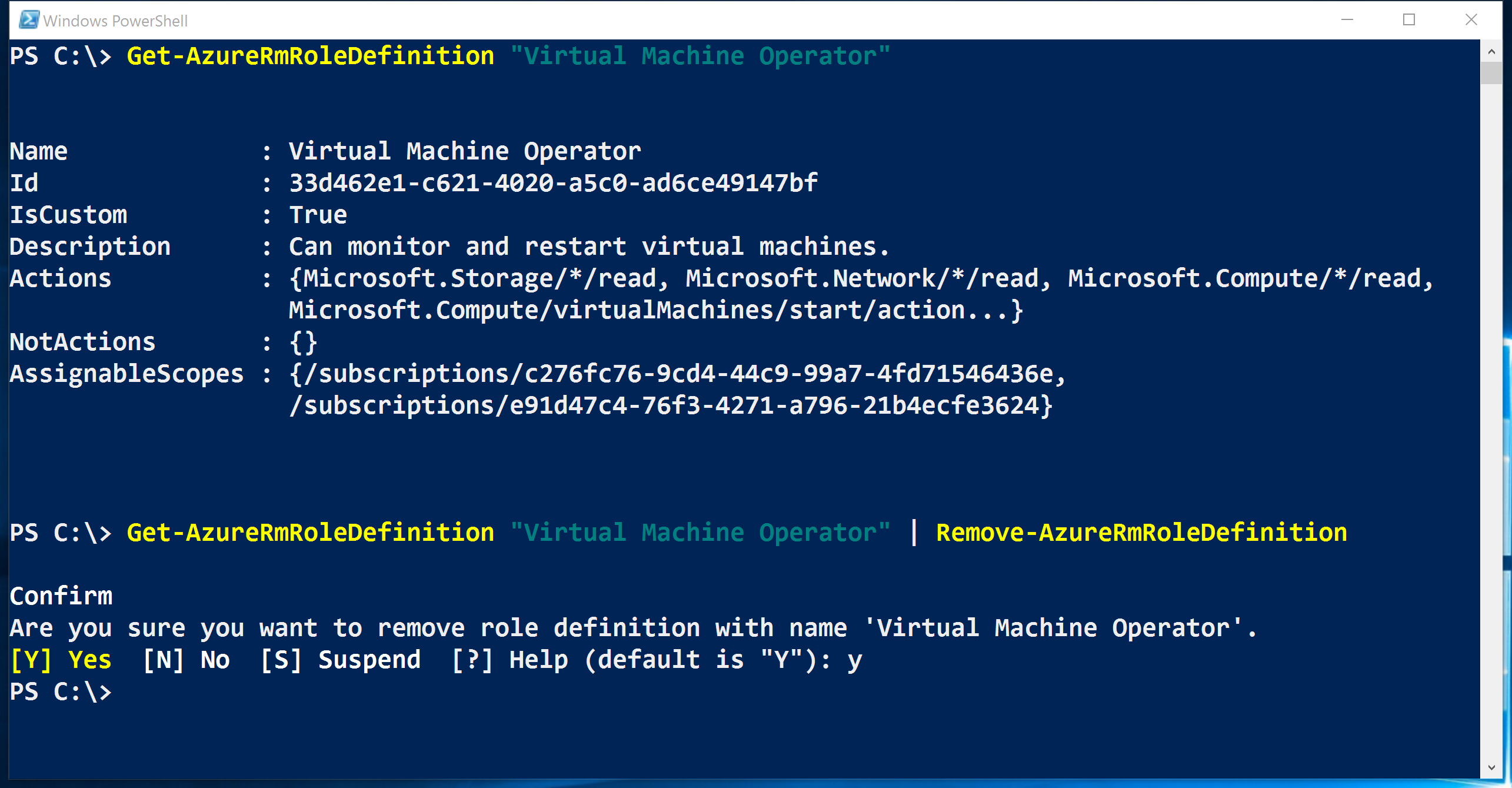 manage role based access control rbac azure powershell rbac powershell remove azurermroledefinition screenshot