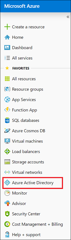 Screenshot shows Azure Active Directory selected from the Azure portal menu.