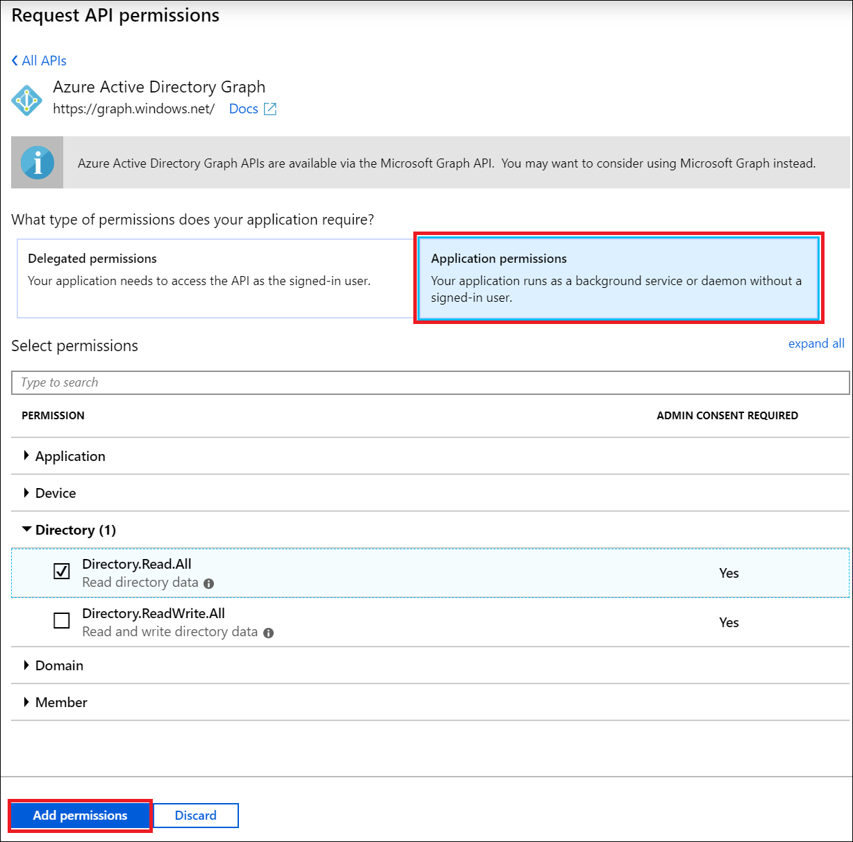 Screenshot shows the Request A P I permissions page where you can select Application permissions.