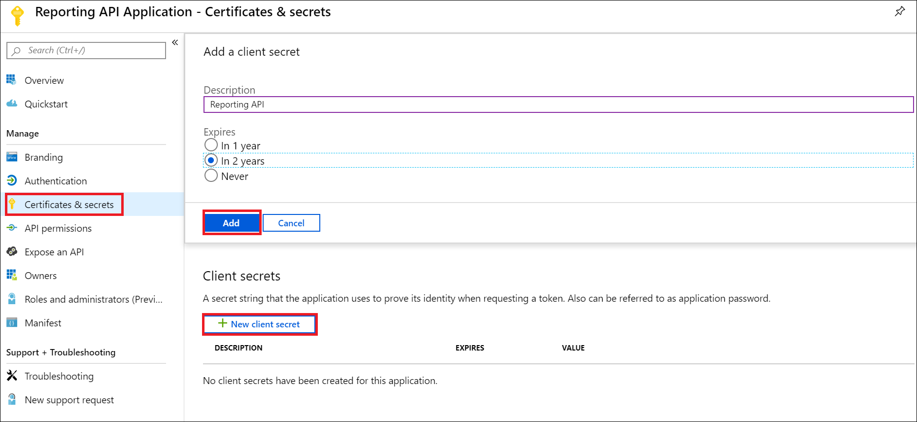Screenshot shows the Certificates & secrets page where you can add a client secret.