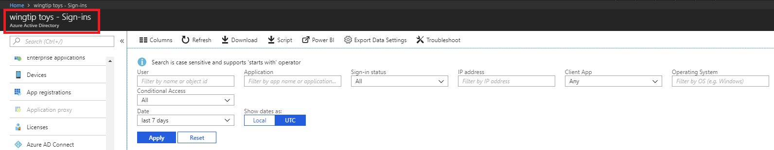 Find Azure Active Directory user activity reports in Azure portal
