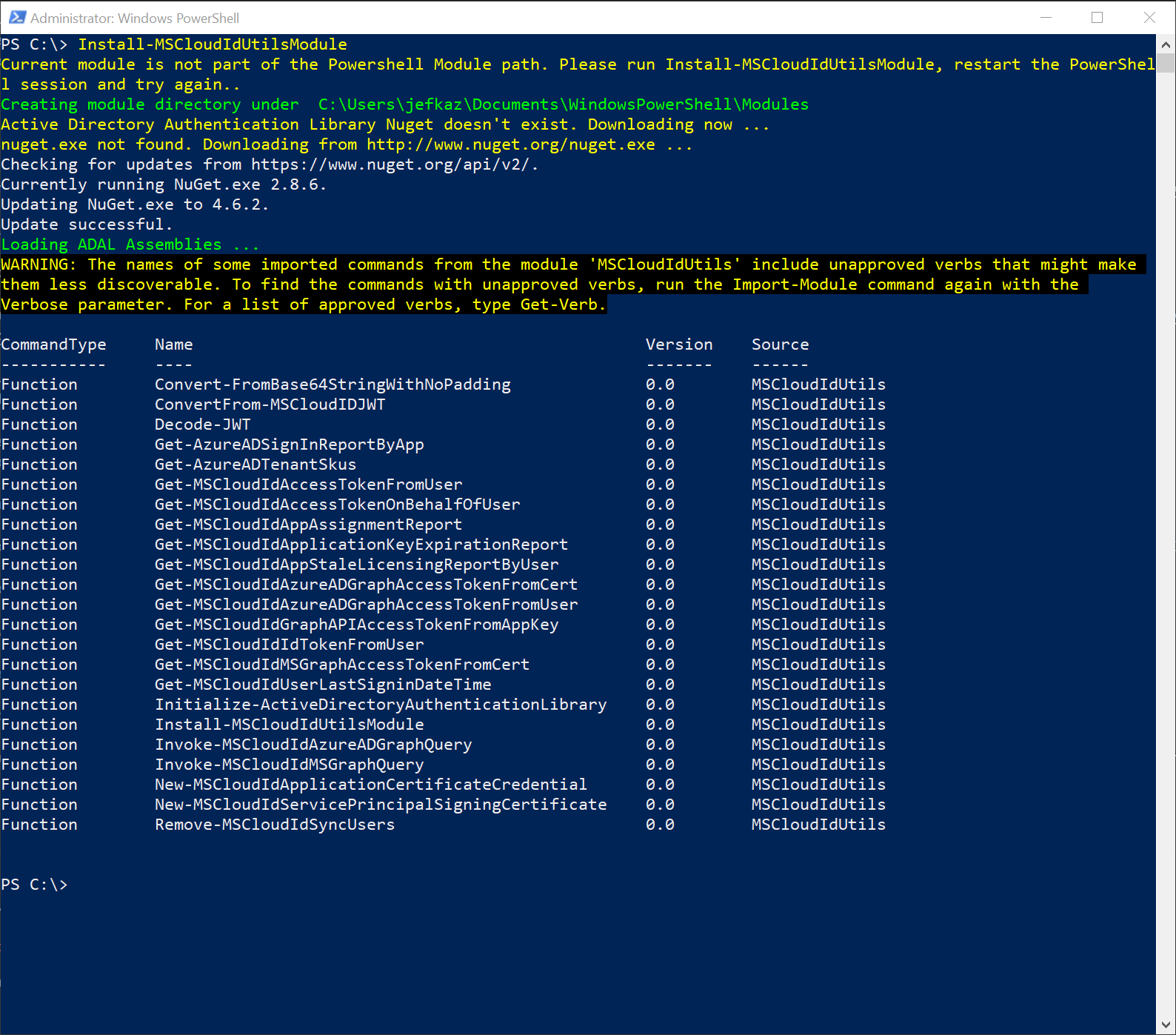 microsoft azure active directory module for windows powershell