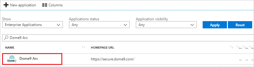 The Dome9 Arc link in the Applications list