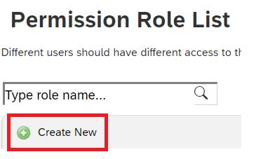 Create New Permission Role